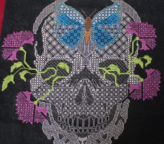 Blackwork Embroidery Skull with Flowers