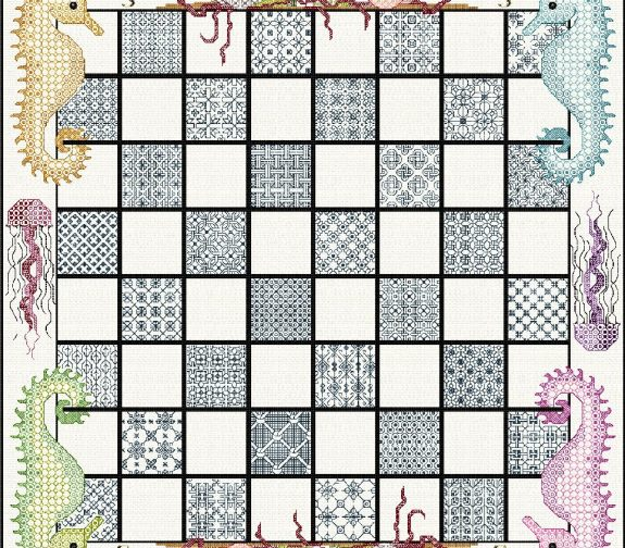 Stitch-your-Own Chess Board with Seashore theme