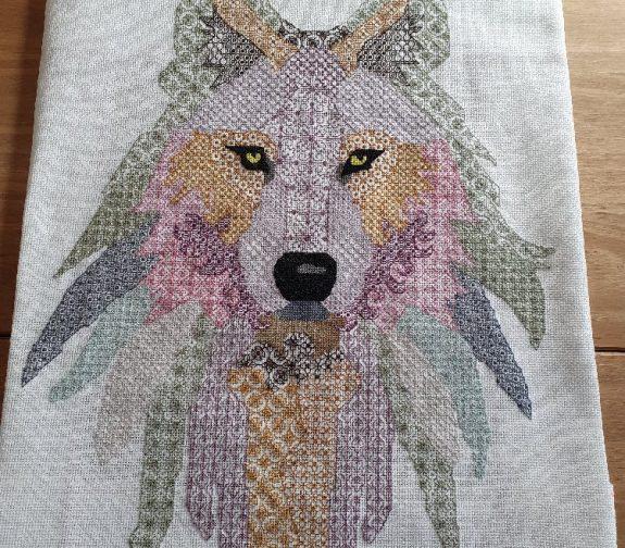 Blackwork Embroidery Wolf