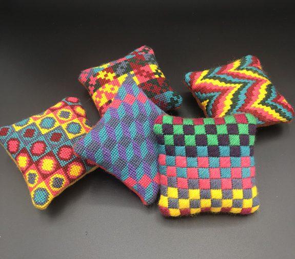 Pincushion Popcorn - pocket sized powerful pops of stitch kit colour