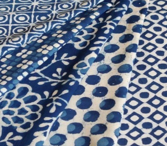 Indigo hand block printed cloth