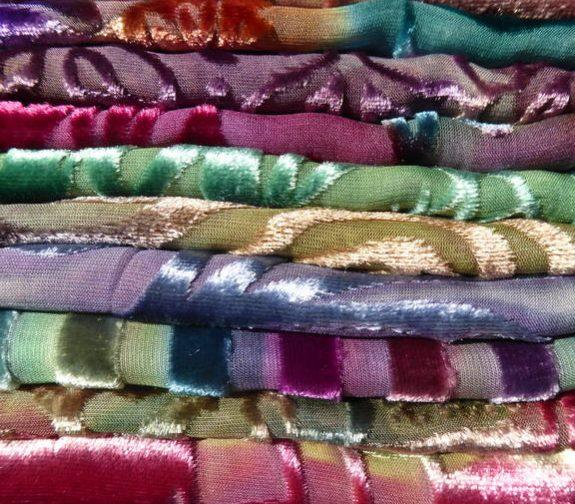 Silk velvet scarves by Diane Jones